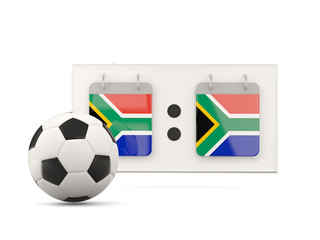 Flag of south africa, football with scoreboard