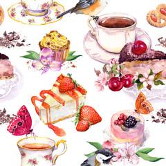 Tea pattern - flowers, teacup, cakes, bird. Food watercolor. Seamless background