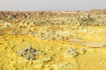 Sulphur of inside of Dallol volcano, Danakil Depression, Ethiopia
