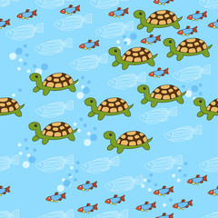 Sea pattern with fish on a blue background. Green turtle.