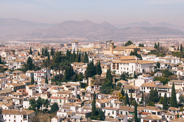 Rooftop view of Granada (Spain) from the Alhambra.