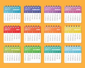 ... vector calendar, calendar design, colored calendar, calendar for 2017