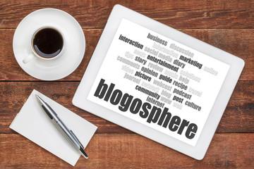 blogosphere word cloud on tablet