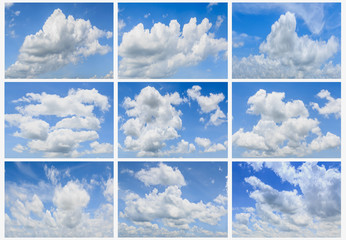 Set of clouds white on  blue elements sky background.