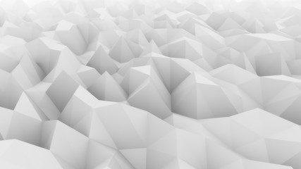 Low poly light gray abstract polygonal modern backdrop for presentations and reports. Ice, snow, coldness concepts. 3D rendering