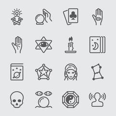 Psychic fortune teller line icon