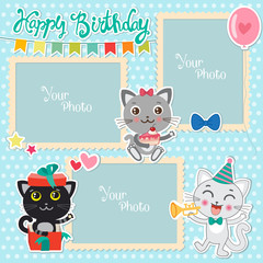 Birthday Photo Frames With Cute Cats. Decorative Template For Baby, Family Or Memories. Scrapbook Vector Illustration. Birthday Children's Photo Framework. Photo Frames Making At Home.