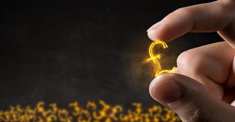 Glowing symbol between fingers . Mixed media