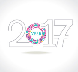 Beautiful template 2017 year. Decorative vector figures. Design for calendars, Christmas cards, New Year's design and etc.
