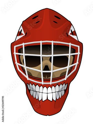 Vector Illustration Layout Of Hockey Goalie Helmet Isolated On