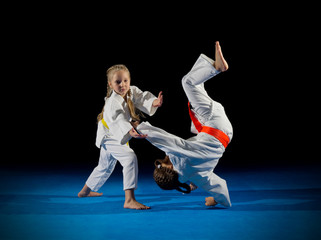Little girls martial arts fighters