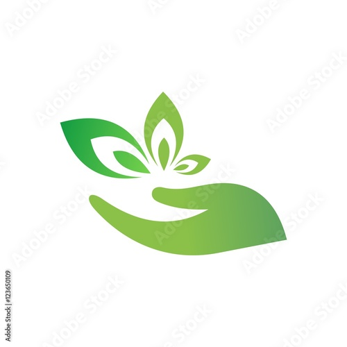 hand and leaf logo vector stock image and royalty free vector files rh fotolia com