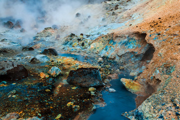 Blue hot stream in Iceland