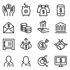 Bank & Financial icon set in thin line style