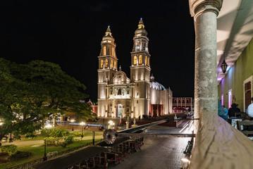 Campeche,Catedral de Nuestra Señora de la Purísima Concepción by night, Mexico