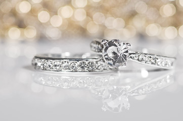 Silver Rings with diamonds.