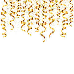 Vector golden serpentine hanging from the top with gold dust