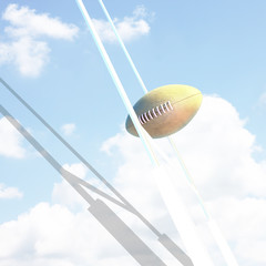 Ball and Goal posts for rugby at sky.