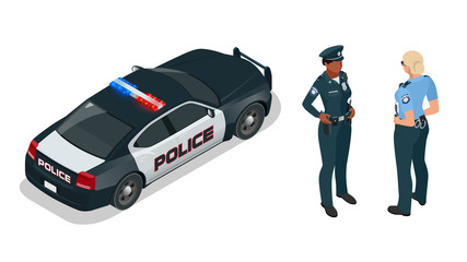 Police officer and police car with siren light blinking. Police officer in uniform, modern police car, police woman writing fine, police badge, police lights