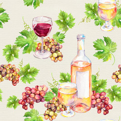 Seamless pattern. Wine glass, bottle, vine leaves, grape berries. Watercolor