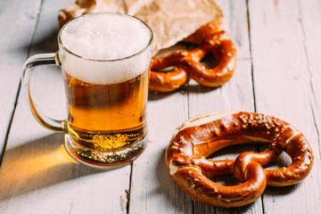Beer jar and pretzel