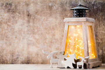 Lantern with christmas tree, Christmas decor. Greeting Card.