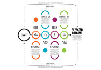 Stroked Circle Timeline Infographic