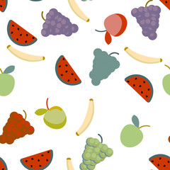 Fruits on white background. Seamless pattern for textile or wallpaper