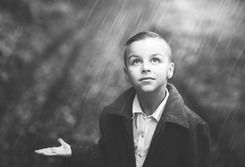 boy and rain,black and white photography