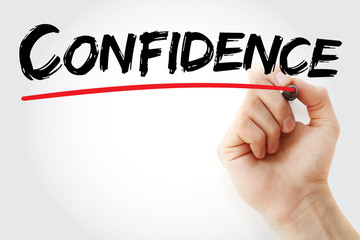 Hand writing Confidence with marker, concept background