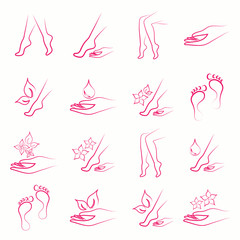 body skin spa beauty foot leg hand care beauty massage salon thin line vector pink icons set