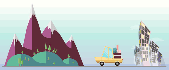 Flat vector car escape from toxic city to nature