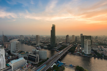 Dramatic sky background over Bangkok city river curved, Thailand