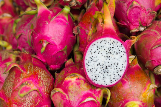 Dragon fruit in the market, natural food background