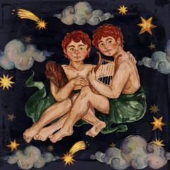 Zodiac sign - Gemini. Watercolor Illustration.