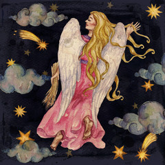 Zodiac sign - Virgo.  Watercolor Illustration.