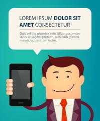 Business man show smart phone with bubble speech.