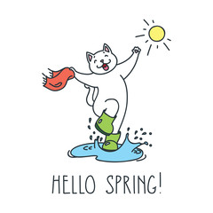 Hello spring! Doodle vector illustration of funny jumping white cat in boots
