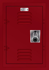 Red Locker and Combination Lock Illustration