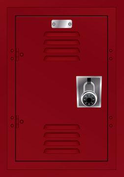 Red Locker and Combination Lock Illustration