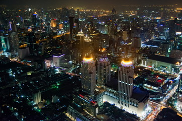 Bangkok, top night view of the Thailand capital city