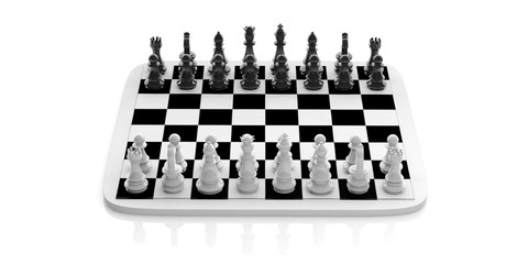 Chess set on a chessboard. 3d illustration