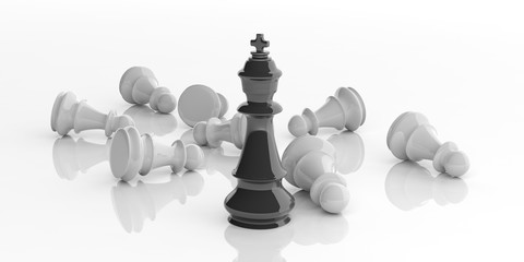 Chess king and pawns on white background. 3d illustration