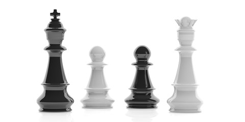 Chess king, queen and pawns on white background. 3d illustration