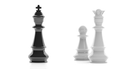 Chess king, queen and pawn on white background. 3d illustration