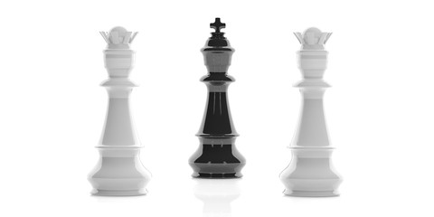 One chess king and two queens on white background. 3d illustration