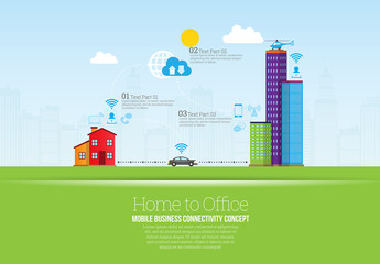 Home to Office Map Element Infographic