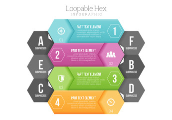 Variable Size Stacked Hexagonal Tiles Infographic