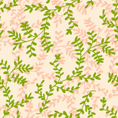 Hand drawn seamless pattern with leaf branches in pastel pink and green.