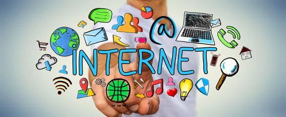 Businessman touching hand drawn internet presentation